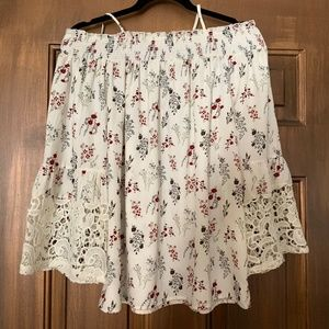 Pleione Tops - Pleione Off-the-Shoulder Lace Bell Sleeve Blouse